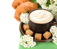 Coffee and  flowers on a white background Stock Images