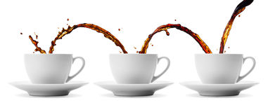Coffee flowing. Pouring coffee showing concepts of continuity, repetition and sharing stock photography