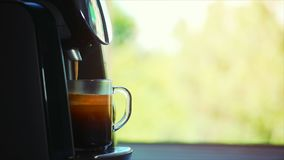 Coffee flows from cofee machine in home. Stock footage. stock footage