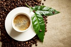 Coffee with foam cup with beans on the left with green leaf on flax. Frothy coffee cup and coffee beans on the left in line on flax material with green coffee Royalty Free Stock Photography