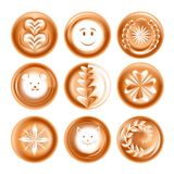 Coffee foam drawing or picture energetic drink creative presentation. Foam drawing or picture coffee energetic drink creative presentation isolated vector icons royalty free illustration