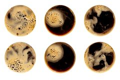 Coffee foam isolated on white background. Round top view close up photography of cup stock image