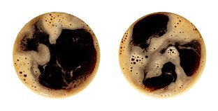 Coffee foam isolated on white background. Round top view close up photography of cup royalty free stock photography