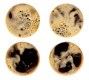 Coffee foam isolated on white background. Round top view close up photography of cup royalty free stock photo