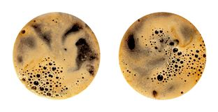 Coffee foam isolated on white background. Round top view close up photography of cup stock photography
