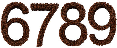 Coffee font 6 7 8 9 numerals Royalty Free Stock Photos