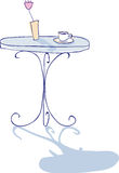 Coffee on forged or metal table in cafe with rose. Vector icon illustration hand-drawn Royalty Free Stock Photos
