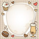Coffee frame. Vintage frame with coffee beans, cupcake and latte glass Royalty Free Stock Images