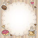 Coffee frame. Vintage frame with coffee beans, cup and donut Stock Image
