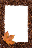 Coffee frame. On white background with autumn leaf in the corner Royalty Free Stock Image