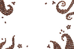 Coffee frame. Abstract pattern made with coffee beans for creative projects, frames and design, isolated on white Stock Image