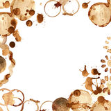 Coffee frame. Coffee paint stains Royalty Free Stock Image