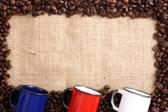 Coffee frame and cups Royalty Free Stock Photo