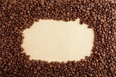 Coffee frame on paper Stock Photo