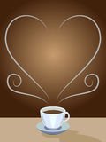 Coffee Frame. Steam from coffee making a heart frame.  Vector file available Stock Images