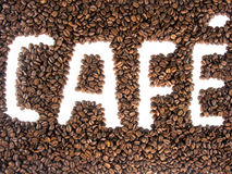 Coffee french embossed beans. Coffee written embossed with coffee beans Stock Photo