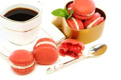 Coffee and French macaroons. Stock Photo