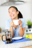 Coffee - French press coffee and woman drinking Royalty Free Stock Image
