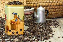 Coffee, fresh aromatic coffee beans in a metal box with coffee pot Stock Photography