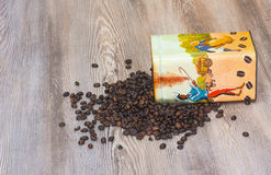 Coffee, fresh aromatic coffee beans in a metal box Stock Photos