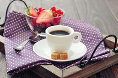 Coffee with fresh berries Stock Photo