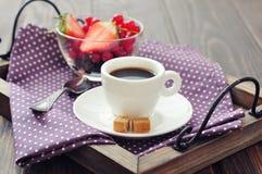 Coffee with fresh berries Stock Photo