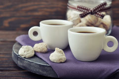 Coffee with fresh biscotti Stock Photos