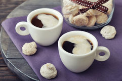 Coffee with fresh biscotti Stock Photo