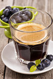 Coffee with fresh blueberries Royalty Free Stock Photography