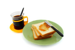 Coffee and Fresh bread with jam Stock Photos