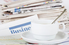 Coffee and the fresh newspaper - morning of the businessman Stock Photography