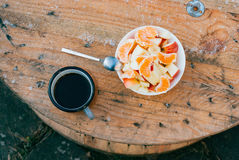 Coffee and fruit salad
