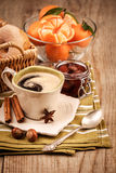Coffee and fruits for breakfast stock photos