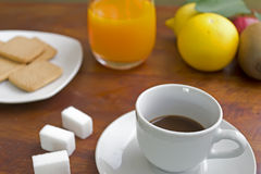 Coffee with fruits and cookies Royalty Free Stock Image
