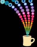 Coffee full of colors. A coffee mug with a rainbow of colors coming into it vector illustration