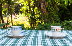 Coffee in the garden Stock Images