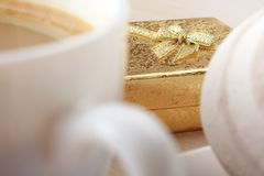 Coffee And Gift Stock Photo