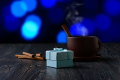 Coffee with a gift Royalty Free Stock Photography