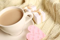 Coffee and gifts for loved ones Royalty Free Stock Images