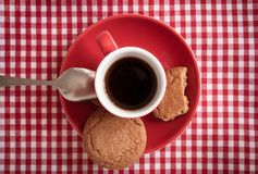 Coffee and ginger biscuits, detail. Stock Photos