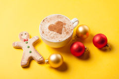 Coffee and gingerbread with christmas bubbles Stock Photos