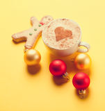 Coffee and gingerbread with christmas bubbles Stock Image