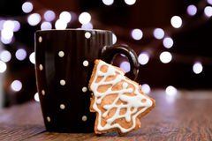 Coffee and gingerbread cookie Royalty Free Stock Image