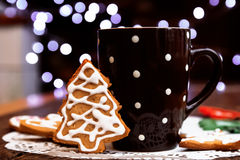Coffee and gingerbread cookies Stock Photo