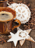 Coffee and  gingerbread cookies Royalty Free Stock Photography