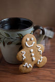 Coffee and a Gingerbread Man Royalty Free Stock Images