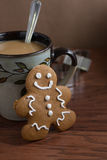 Coffee and a Gingerbread Man Royalty Free Stock Photo