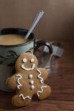 Coffee and a Gingerbread Man Stock Image