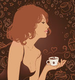 Coffee Girl Royalty Free Stock Images