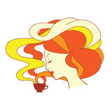 Coffee girl with brown cup Royalty Free Stock Images